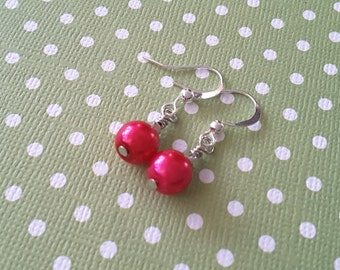 Petite Magenta Glass Pearl Drops . Earrings
