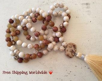 Mala Necklace, Brown Necklace, Yoga Jewelry, Calming Necklace, 108 Mala Necklace, Prayer Beads Mala, Mala Tasssel Necklace, 108 Mala Beads