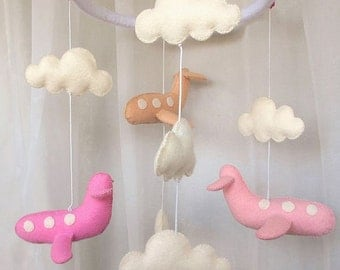 Baby crib mobile Airplane-baby mobile-nursery mobile-baby kit mobile-felt kit-felt Airplane-felt mobile-baby bedding made from felt