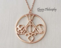 Books to Movie Symbols Necklace - Gold or Silver Plated Jewelry - Harry Potter - Percy Jackson - Divergent - Mortal Instruments