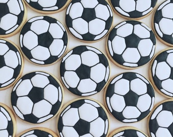 One Dozen Soccer Ball Theme Sugar Cookies - Decorated Cookies - Soccer Cookies