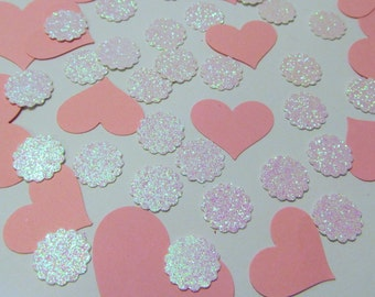 Pink Heart Die Cuts - White & Pink Glitter Scallop - 120 ct - Weddings - Baptism - Showers - Cardmaking - Scrapbooking - 1st Communion