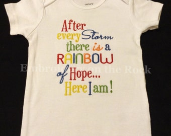 After every storm, rainbow baby, bodysuit, rainbow of hope embroidered bodysuit, Rainbow baby announcement