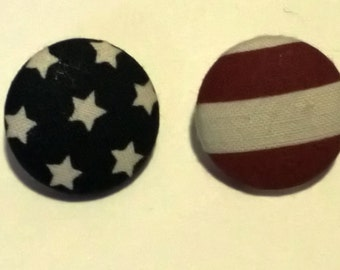 American Flag Fabric Button Stud Earrings