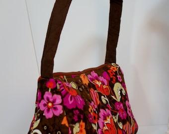 Purse satchel top handle quilted shoulder bag (in brown floral corduroy 004)