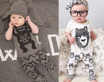 Cute 2PCS Baby Girl Baby Boy 0-3 Months Clothes Outfit - Top + Trousers