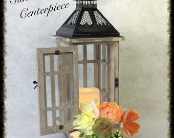 Wedding Centerpiece, Lantern Flowers, Wedding Decorations, Rustic Wedding, Silk Flower Centerpiece, Succulents, Custom-made in your colors!