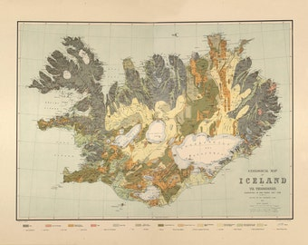 Map of Iceland Geological map by Thoroddsen - 1901, Restoration Hardware Home Deco Style Old Wall Vintage Reprint.