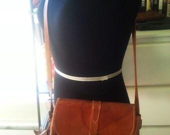 Vintage leather purse, vintage brown leather bag, 1970's leather purse, 1970's leather hippie purse, 1970's handbags.