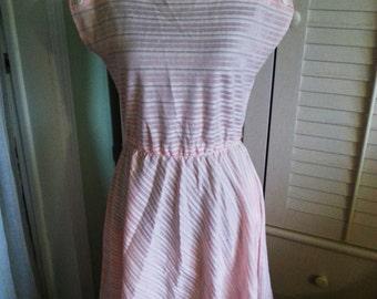 Vintage pink stripped vintage dress, vintage pink dress, vintage dress, vintage 1970's dress A10
