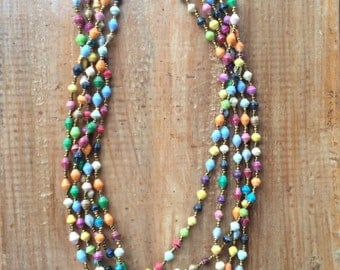 Multi-Colored Multi-Strand Paper Bead Necklace