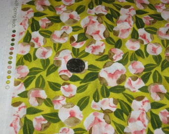 1 yd Michael Miller green/peach Spring Buds floral print 100% cotton BTY-quilt fabric