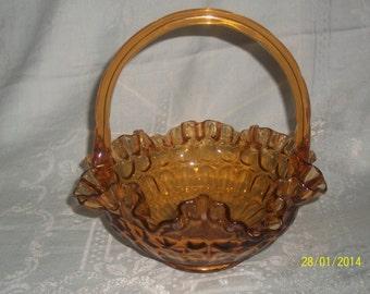 Vintage Fenton style amber crimped edge thumbprint basket