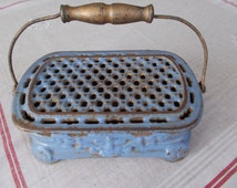 Antique French Enameled  Cast Iron Foot Warmer.Cast Iron Carriage Heater, French Decor, Plate Warmer, Pot-Pourri Container,Incense Burner,