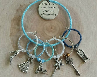 Cinderella themed wine glass charms - wine charms - stemware charms - housewarming gift - Disney lovers gift - wine lovers gift