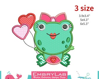 Machine Embroidery Applique Design Valentins Happy Frog  (16091)
