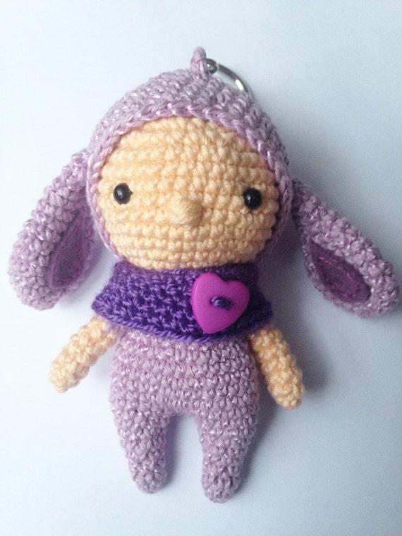 Amigurumi Bunny Keychain : Crochet Bunny Keychain Amigurumi Bunny Bag Charm by LaLalaArte