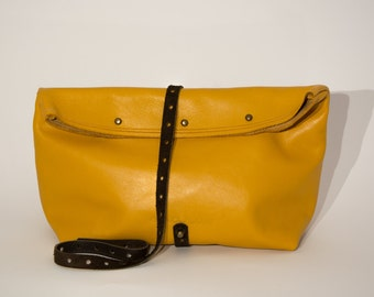 Blossom yellow leather clutch bag