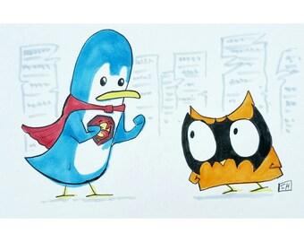 Batowl v Superpenguin (Original Hand-Drawn Cartoon Owl Illustration)
