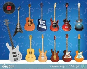 guitar clip art images - for Scrapbooking Card Making Cupcake Toppers Paper Crafts - instant download digital file - PNG