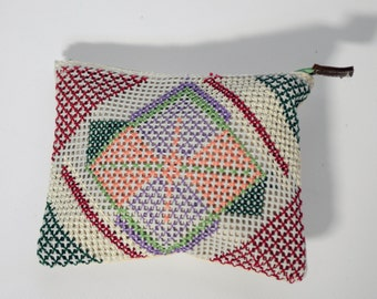 Handmade Cross Stitch Clutch Bag