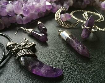Amethyst Crystal Necklaces Amethyst Earrings, Amethyst Ring, Amethyst Raw Crystal Celestial Jewelry