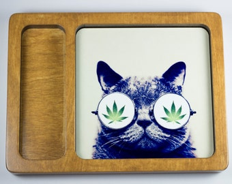 Cat in pot leaf glasses rolling tray printed with scratch and heat resistant ink - cannabis, potleaf, 420, weed