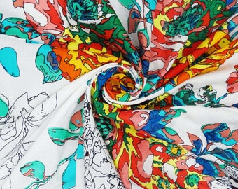 "100% Cotton White Fabric With Floral Print 42"" Width Craft Sewing Dress Drape Making Craft Material Indian Fabric By 1 pc ZBC4017"