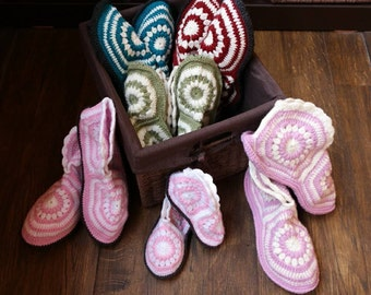 Grand Sale! 50% OFF on Girls Ladies Crochet Boots, Pink Womens Crochet Slippers, Crochet Slipper Booties for Woman, Crochet Pink House Shoes