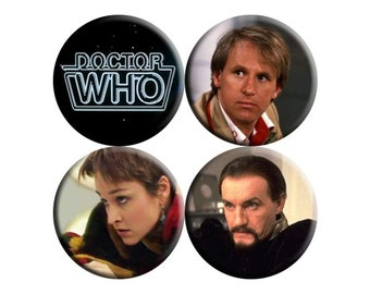 Doctor Who 5th Fifth Doctor handmade badges - set of FOUR [Peter Davison]