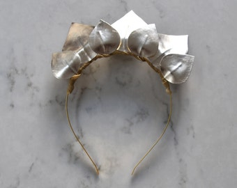 White Gold, Silver Detailing, Metallic Patent Leather Look Headpiece / Fascinator - Gold Headband