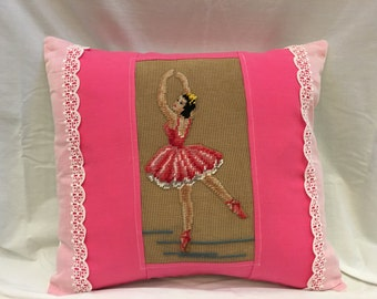 Vintage Ballerina Needlepoint Pillow, Dance Ballet Pillow, Ballerina Bedding, Pink Girl Bedding,  Down/Feather Insert