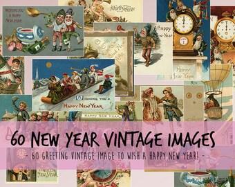 Vintage New Year image - 150 DPI Digital Download Printable Image