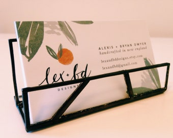 Glass Business Card Display / Cell Phone Holder / Desk Organization / Fathers Day Gift  / Unique Office Decor / Art Deco / lexandbdDesigns