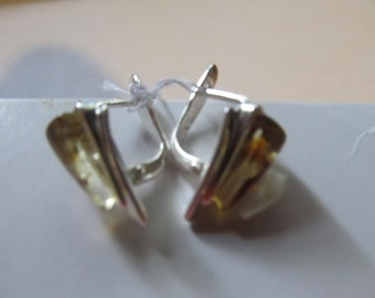 Amber Earrings 3.4 gr. Natural Baltic green transparent polished beads Silver 925 adult triangle shape french clasp