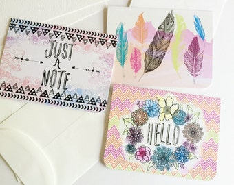 Boho Mini Card Kit: stationery, watercolor postcard set