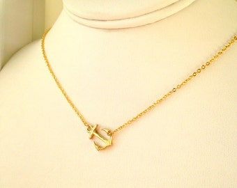 Anchor Necklace .Side Anchor Necklace.