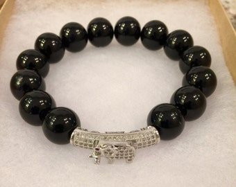 Onyx and Crystal Stretch Bracelet
