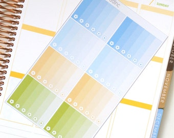 Field of Daisies Glossy Ombre Flower Checklist Planner Stickers