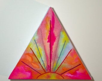 Triangle Mixed Media Fabric Dye Painting and Embroidery