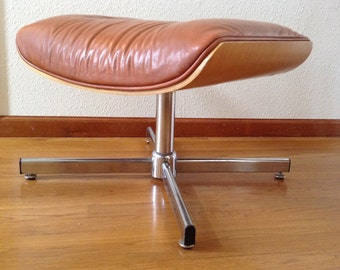 Mid Century Modern Leather Stool, Vintage Ottoman, Eames Inspired Design