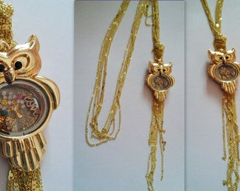 Vintage Royal Upscale Gold Plated Multi-layer Long Sweater Chain Gold Tone Owl Magnet Floating Locket Pendant Women Necklace
