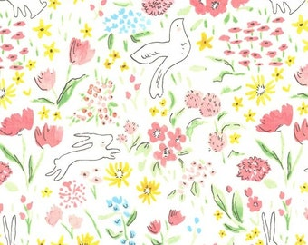 Garden Sommer Bloom - Michael Miller - Bunny Bird Floral Pink White - Quilting Cotton Fabric - by the yard fat quarter half
