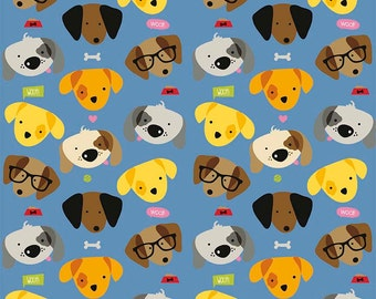 Rover Main Blue by Riley Blake Designs - Dog Pet Puppy - Quilting Cotton Fabric - choose your cut