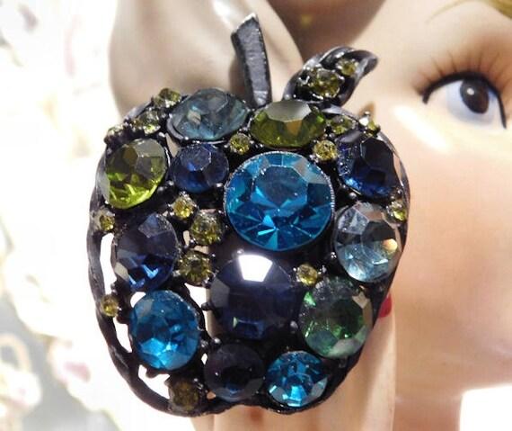 Apple Rhinestone Brooch Mid Century 1950s 1960s Japanned Gold Foil Back Crystal Glass Rhinestone Brooch Hollywood Regency Forbidden Fruit