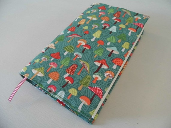 Book Cover Material Uk : Mushyrooms handmade fabric book cover