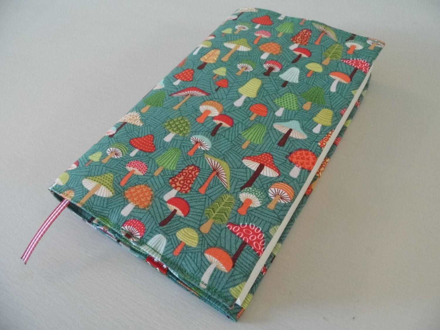 Handmade Fabric Book Covers : Mushyrooms handmade fabric book cover