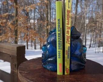 Blue Glass Clown Book Ends