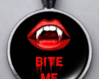 Vampire Pendant, Vampire Bite Me Pendant, Vampire Lips, Bite Me Jewelry, Gothic Vampire, Vampire Fangs, Victorian Gothic.  FREE SHIPPING