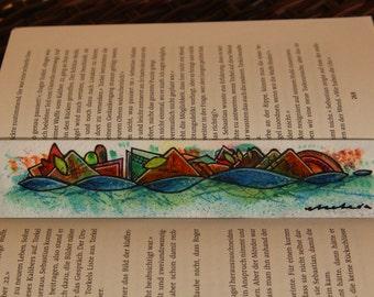 "Bookmark ""Raro"" - Aquarell & Watercolor Pencil - Abstract, Unique Handmade Design (Viajar Series)"